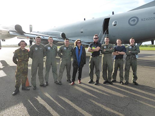 Bee and some of the crew of the RNZAF P3 Orion that flew her to Fiji
