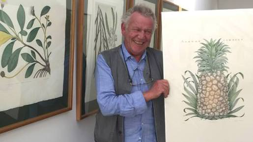 Acclaimed botanical artist Bryan Poole with his etching of a pineapple. Photo by Marjorie Cook.